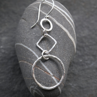 Large Silver Earrings, Silver Hoop Earrings