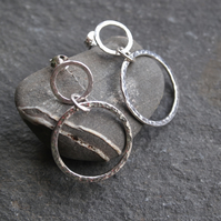 Hoop Earrings, silver hoop studs