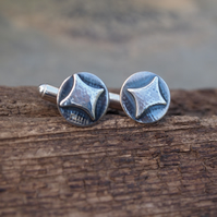 Cufflinks starburst sterling silver hallmarked cufflinks, gift for him