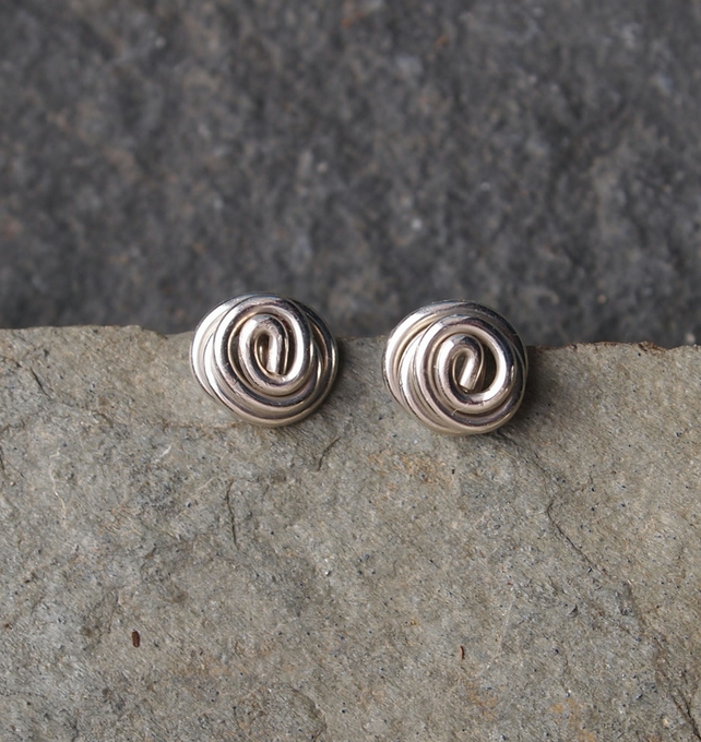 Argentium silver studs, silver stud earrings