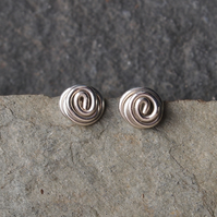 Small silver twisted knot studs, handmade stud earrings