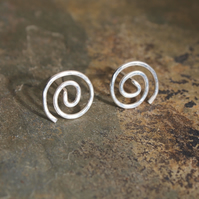 Silver Stud Earrings, Silver Spiral Stud Earrings