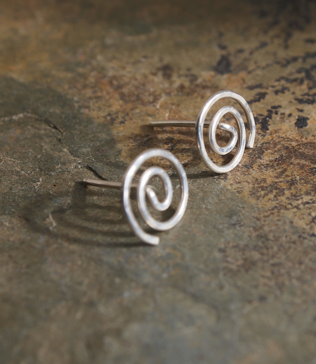 Silver Studs, Sterling silver spiral stud Earrings