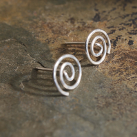 Silver Studs, Argentium silver spiral stud Earrings