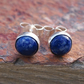 Silver stud earrings with blue sodalite