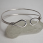 Silver double bangle with loop & wire wrap detail