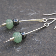 Long silver earrings with aventurine & hematite
