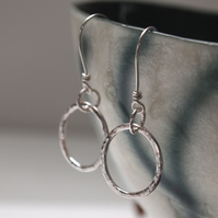 Silver Hoop Earrings, dangle hoop earrings