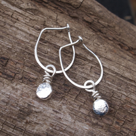 Earrings, Recycled Silver Pebble Earrings