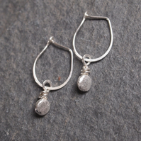 Silver Earrings, Hoop Pebble Earrings