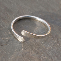 ring, forged silver ring with texture