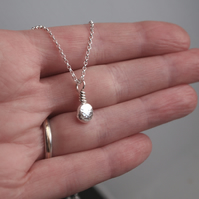Silver necklace, silver pebble pendant
