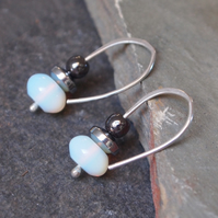 Silver opalite earrings
