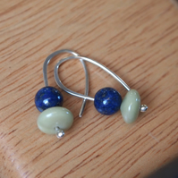 lapis lazuli silver earrings with butter jade
