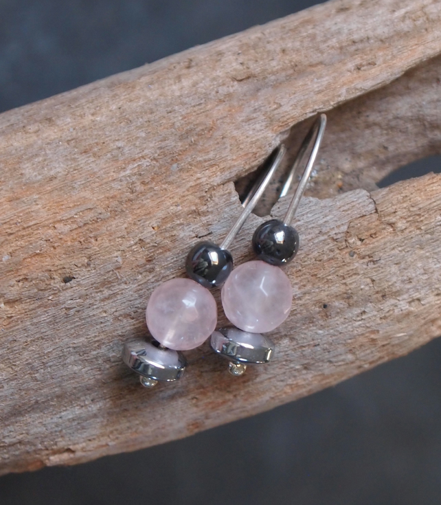 Rose Quartz earrings, silver drop earrings
