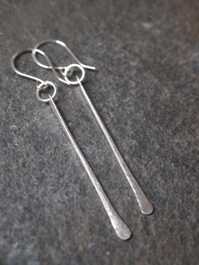 Sterling silver earrings, long silver earrings