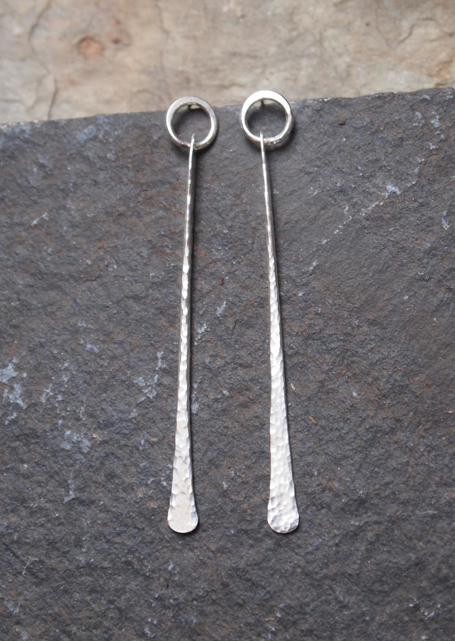 sterling silver earrings, stud earrings, forged silver