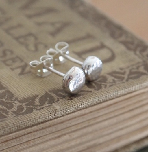 Silver studs, sterling silver earrings, handmade silver jewellery