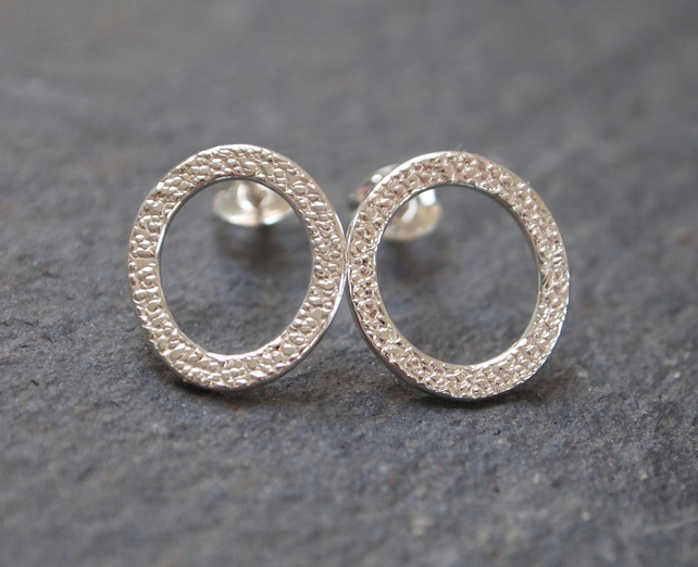 Studs, silver stud earrings, ring stud earrings