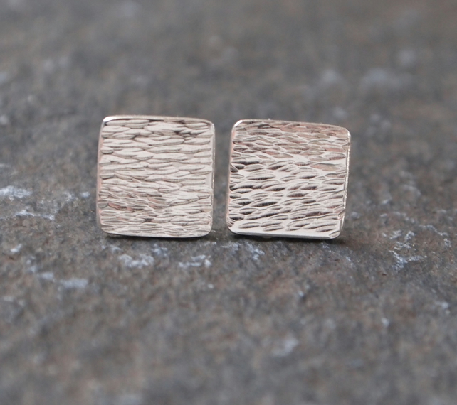 Silver stud earrings, square earrings, handmade jewellery