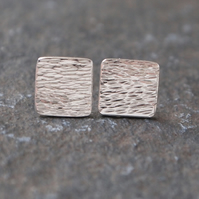 Silver stud earrings, square