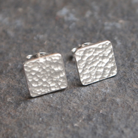 sterling silver stud earrings, square earrings, hammered silver stud earrings