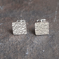 square stud earrings, silver studs