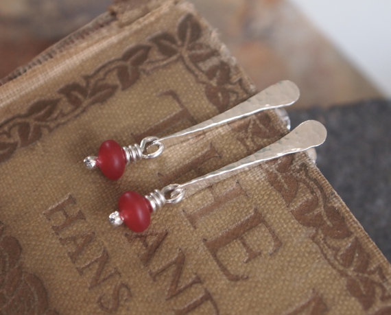Studs, red jade silver stud earrings