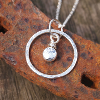 Silver Necklace, Silver Pebble Ring Pendant, Silver Jewellery