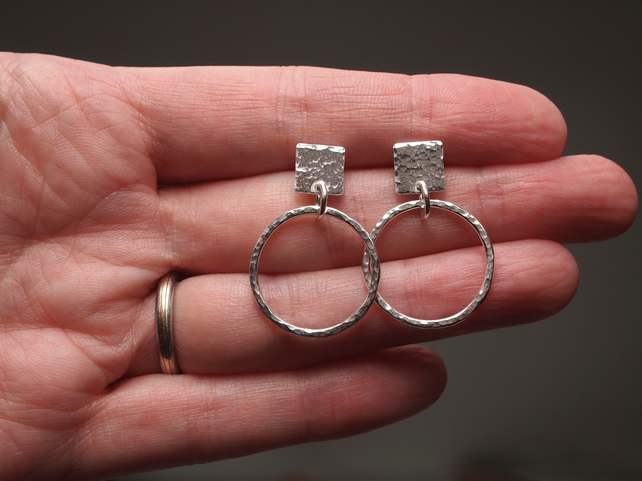 Hoop Earrings, Silver Earrings, handmade jewellery