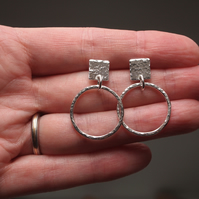 sterling silver hoop square stud earrings, ARC jewellery