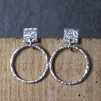 hoop stud earrings, silver earrings