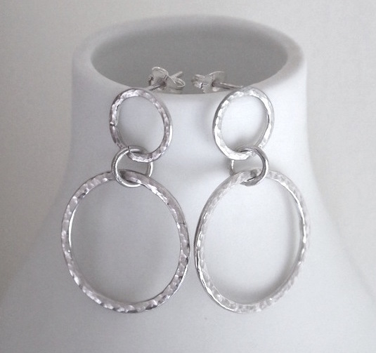 Argentium Hoop Earrings, silver hoop studs