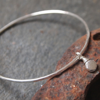 Bangle - Sterling Silver Bangle - Pebble Charm Bangle