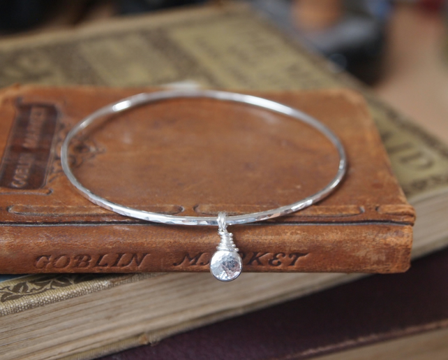 Bangle, sterling silver pebble charm bangle