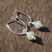 silver dangle earrings with amazonite rondelles, handmade silver jewellery
