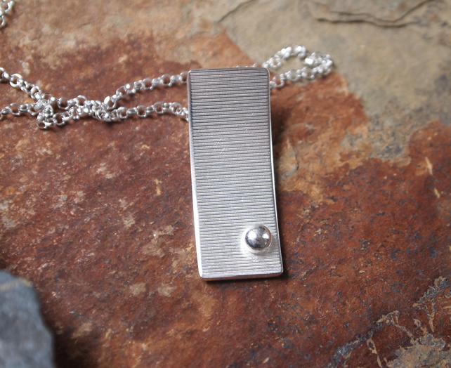 """SALE""  arc pendant necklace, sterling silver necklace, textured silver necklace"
