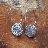 silver drop earrings with textured disc