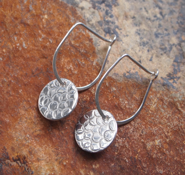 Earrings, Silver Earrings, Silver Disc Earrings
