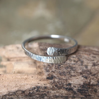Silver ring, forged with hammered texture, handmade by ARC Jewellery