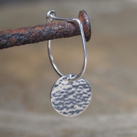 Sterling silver drop earrings with hammered disc