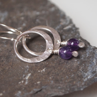 Amethyst Earrings, Silver Hoop Earrings
