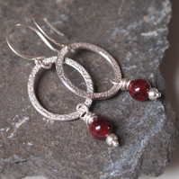 garnet earrings, silver hoop earrings, garnet dangle earrings