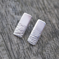 silver studs, sterling silver earrings, shimmering water