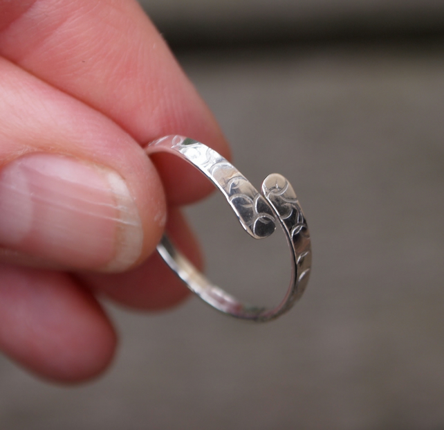 Silver ring, forged silver ring with bubbles texture
