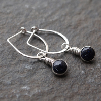 blue goldstone dangle earrings, gift for her