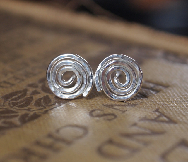 stud earrings, Argentium silver spirals
