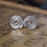 HYPOALLERGENIC stud earrings, Argentium silver spirals