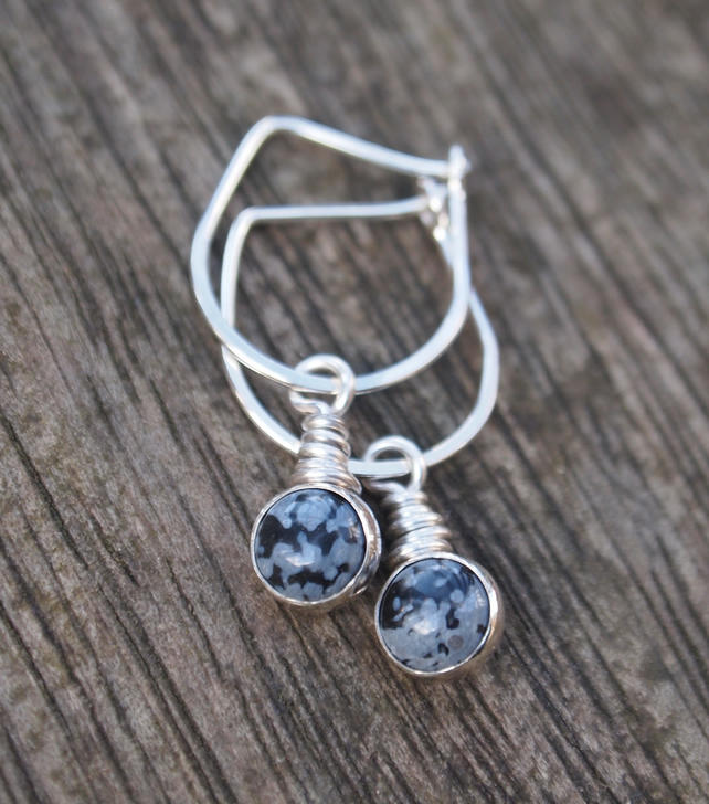 silver dangle drop earrings with snowflake obsidian, handmade gift for her