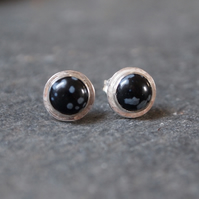 Silver earrings with snowflake obsidian